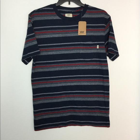 e4486e17e3 Vans M Shirt Pocket Tee Striped Blue Red White NWT